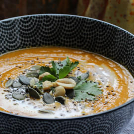 Pumpkin, Carrot, Sweet Potato & Coconut Milk Soup