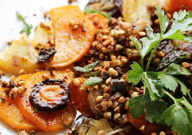Roasted veggies & toasted buckwheat seeds