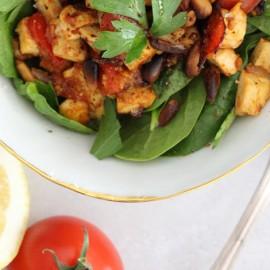 Sauté tofu & spinach salad