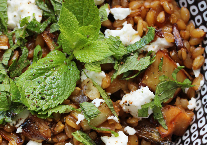 Spelt, caramelized fennel and feta salad