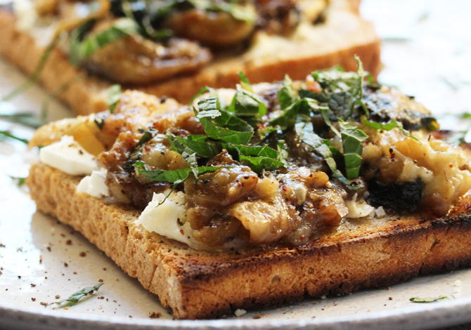 Marinated Eggplants, Goat Cheese & Spelt Bread