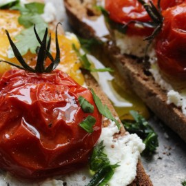 Roasted Tomatoes, Perfect Egg, Goat Cheese & Spelt Bread