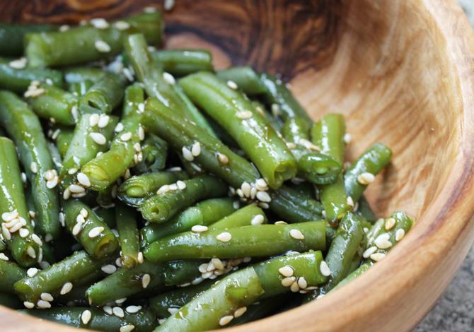 Judías verdes & salsa de sésamo