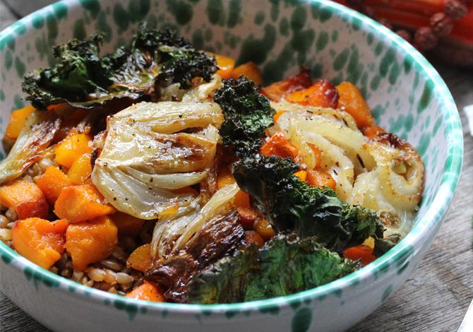 Spelt, Roasted Fennel & Pumpkin, Kale Chips